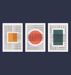 minimalistic geometric art wall posters set of vector image