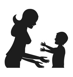 Mother and her son child together pictogram vector
