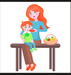 Mother sits on bench and feeds bawith bottle vector