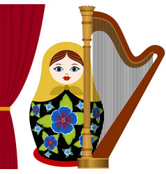 musician with harp vector image