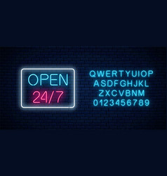 neon open 24 hours 7 days a week sign in vector image
