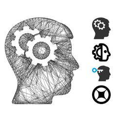 Network intellect gears mesh vector