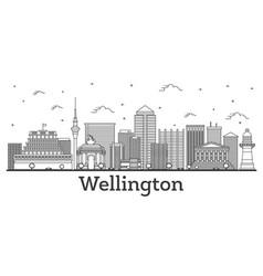 Outline wellington new zealand city skyline vector