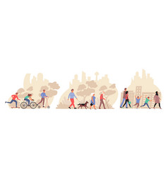 People in city flat compositions vector