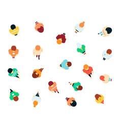 people in crowd top view icon set vector image