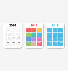 pocket calendar 2019 template colorful compact vector image