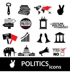 politics black and red simple icons set eps10 vector image