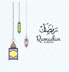 ramadan with lanterns and vector image