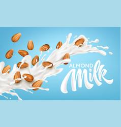 Realistic splash almond milk on a blue vector