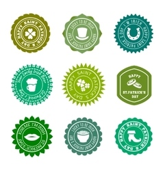 Saint Patricks Day vintage green badges vector image