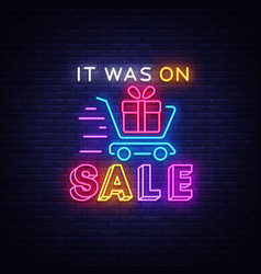 sale neon sign discounts banner in vector image