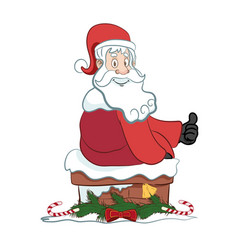 Santa on a chimney with christmas decoration vector