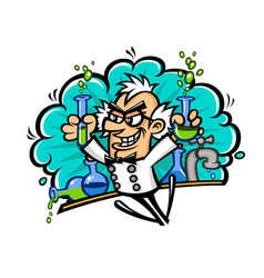 Scientist in style cartoon isolated vector