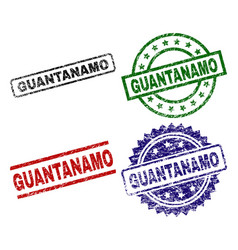 Scratched textured guantanamo stamp seals vector