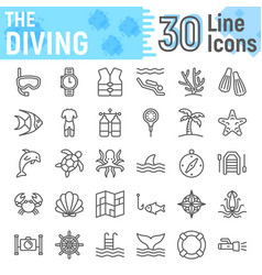 Scuba diving line icon set underwater symbols vector