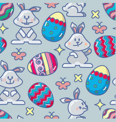 seamless pattern with easter icon vector image