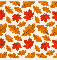 seamless pattern with oak and maple autumn leaves vector image