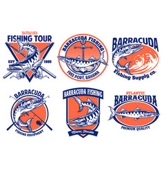 set barracuda fishing badge design vector image