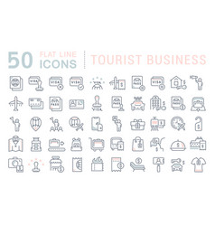 set line icons tourist business vector image