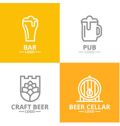 set of beer and alcohol hop barrel logo or vector image