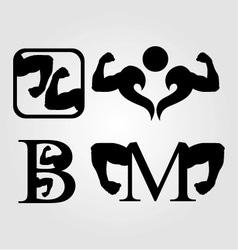 Set of bodybuilding logos vector