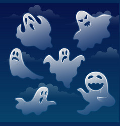 set of ghosts with different emotions on sky with vector image