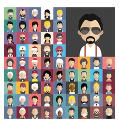Set of people icons in flat style with faces 01 a vector image