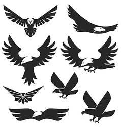 Set of the eagles icons and logo templates vector