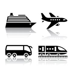 set transport icons - tourist transport vector image