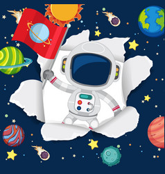 Space theme background with astronaut in space vector