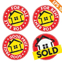 Stamp sticker house for sale collection - vector