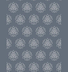 Steel grey naive daisy bloom seamless pattern vector