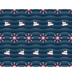 Steering wheels and boats on navy background vector image