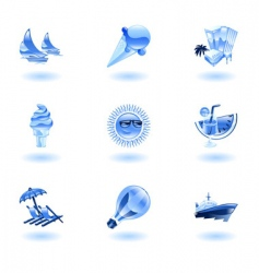 summer holiday icons vector image