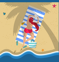 top view young woman in red bikini on beach vector image