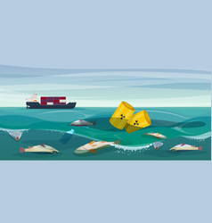 Toxic waste poison fish in ocean vector