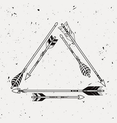 tribal frame with ethnic arrows american indian vector image