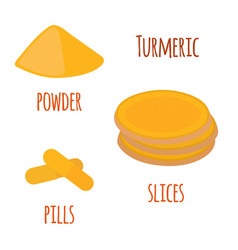 turmeric root spice slicespowder pills vector image