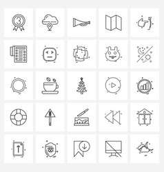 Universal symbols 25 modern line icons hand vector