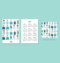 vertical calendar 2022 doctors happy new year vector image
