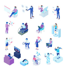 virtual reality isometric set vector image