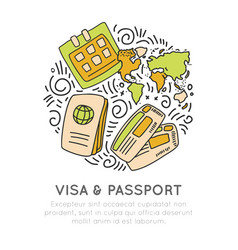 Visa and passport travelling icon set in hand draw vector