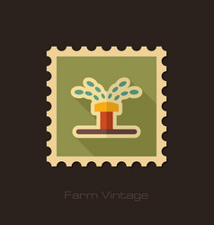 Water sprinkler irrigation retro flat stamp vector