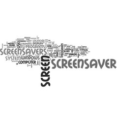 Windows screensavers explained text word cloud vector