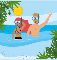 woman and man wearing swimsuit and bathing shorts vector image