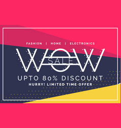 Wow sale and discount voucher banner in flat style vector