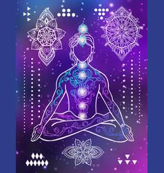 yoga man ornament beautiful esoteric concept of vector image
