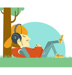 Young boy listening to music on nature green grass vector image