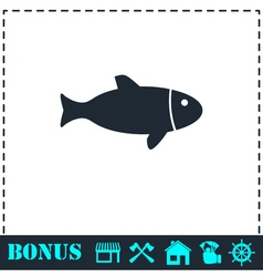 Fish icon flat vector image vector image