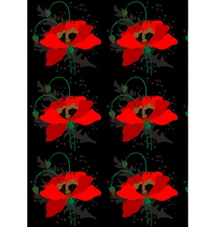Poppies on a black seamless background vector image